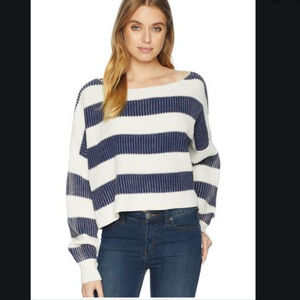 Free People Blue Just My Stripe Pullover NWOT
